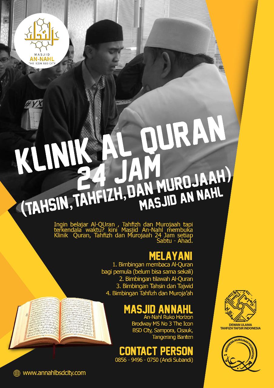 KLINIK AL-QURAN 24 JAM (Tahsin, Tahfizh, dan Murojaah)